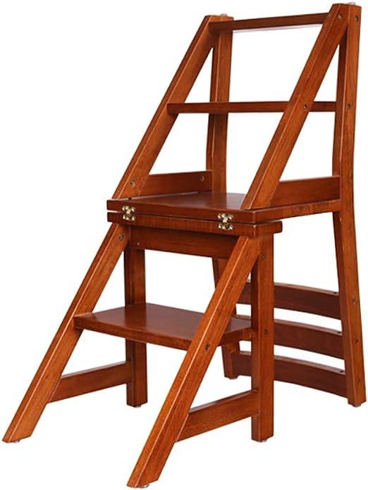 Katxay Silla de Escalera Plegable de Doble Uso de Madera Maciza ...