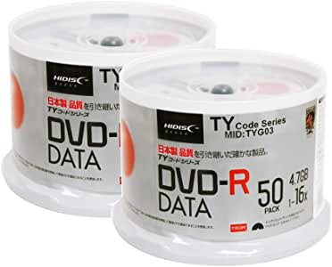 100 Spindle HiDisc DVD-R 16X 4.7GB 120Min (Taiyo Yuden TY Code MID TYG03) White Inkjet Hub Printable Blank Recordable Disc (Renewed)