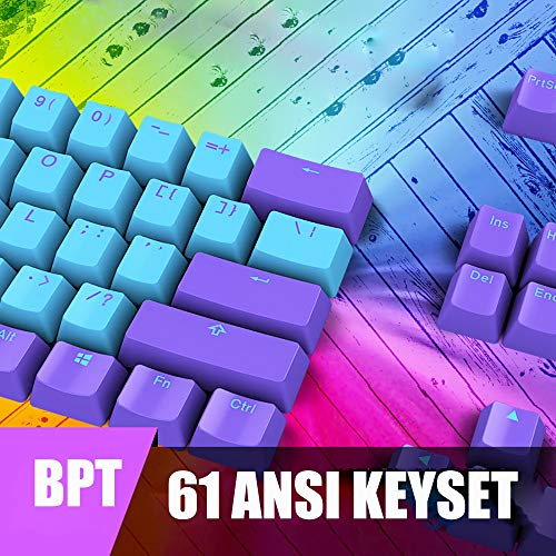 GTSP 61 Keycaps 60 Percent, One 2 Mini Keycaps of Mechanical Gaming Keyboard Compatible OEM Profile RGB PBT Pudding Keycap Set with Key Puller for Cherry MX Switches (Blue)