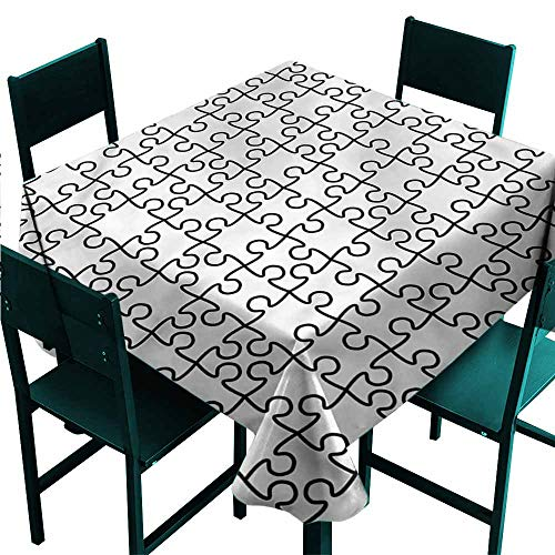 - DONEECKL Washable Tablecloth Black and White Jigsaw Puzzle Game Party W50 xL50