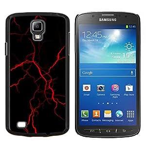 KLONGSHOP // Cubierta de piel con cierre a presión Shell trasero duro de goma Protección Caso - rojo relámpago - Samsung Galaxy S4 Active i9295 //