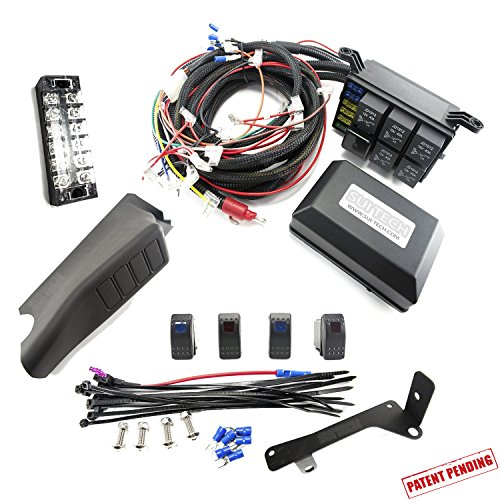 Headlight Control Relay - Jeep JK Control Box - Electronic 6 Relay System Module - Wiring Harness Kit With FREE 4 Rocker Switch Mount - Power up to 6 Accessories and LED Off Road Light Bars