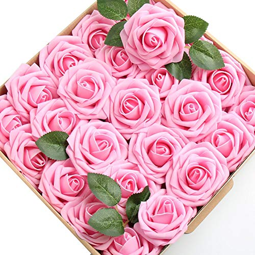 (Floral Kingdom 50 pcs Artificial Foam Roses for Crafting, DIY's, Bouquets, centerpieces, Decor, and Weddings (Pink))