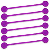 TwistieMag Strong Magnetic Twist Ties - The Sour Grapes Collection - Purple 6 Pack - Super Powerful Unique Solution For Cable Management, Hanging & Holding Stuff, Fidget Toy, Or Just For Fun!