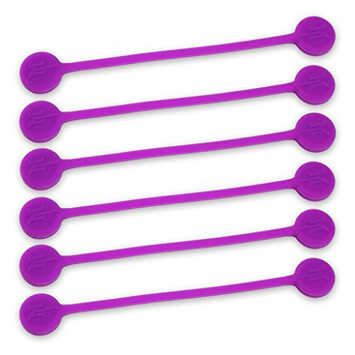 (TwistieMag Strong Magnetic Twist Ties - The Sour Grapes Collection - Purple 6 Pack - Super Powerful Unique Solution for Cable Management, Hanging & Holding Stuff, Fidgeting, Or Just for Fun!)