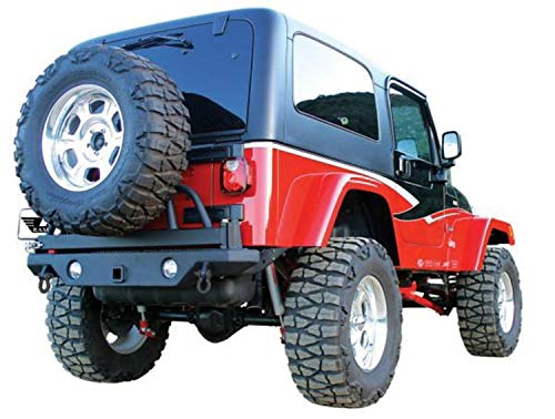 (RAMPAGE PRODUCTS 76610 Semi-Gloss Black Rear Recovery Bumper with Swing Away Tire Mount for 1987-2006 Jeep Wrangler YJ &)