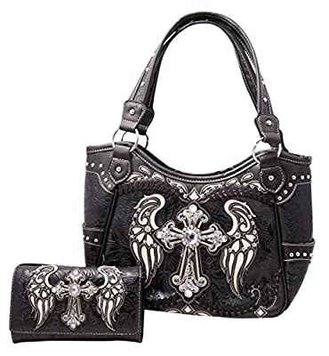 HW Collection Western Rhinestone Cross Angel Wings Stitching Concealed Carry Handbag and Crossbody Wallet Set