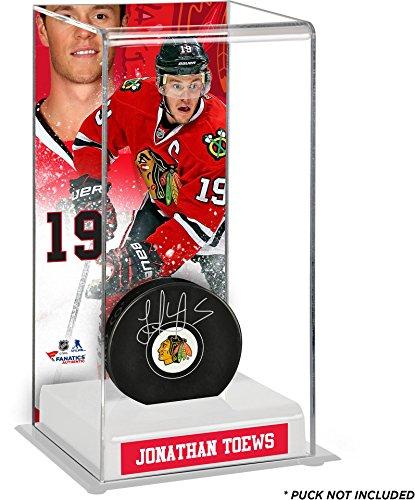 Chicago Blackhawks Jonathan Toews Puck (Jonathan Toews Chicago Blackhawks Deluxe Tall Hockey Puck Case - Fanatics Authentic Certified - Hockey Puck Display Cases No Logo)