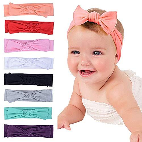 PUBAMALL Diadema de lazo para bebé,Cintas para niñas para recién nacidos, niños pequeños y niños (8 piezas)