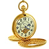 Ogle Vintage Copper Double Cover Tourbillon Phases Moon Chain Fob Self Winding Automatic Mechanical Pocket Watch(Luminous Dial)