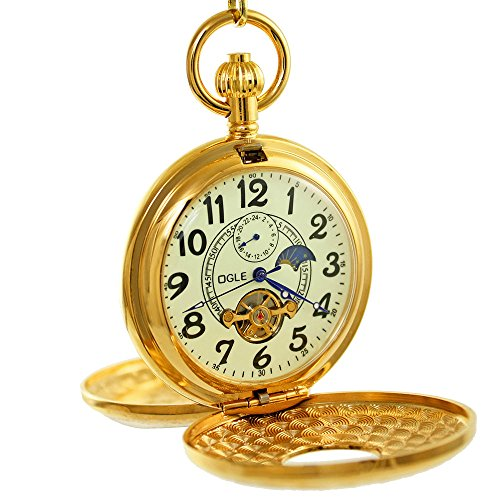 OGLE Vintage Copper Double Cover Tourbillon Phases Moon Chain Fob Self Winding Automatic Mechanical Pocket Watch(Luminous