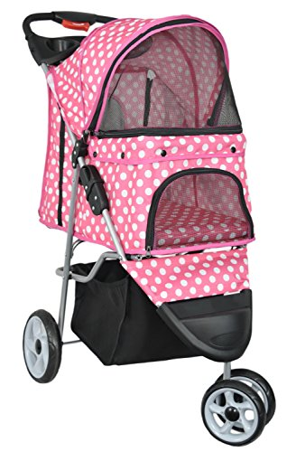 VIVO Three Wheel Pet Stroller, for Cat, Dog and More, Foldable Carrier Strolling Cart, Multiple Colors (Pink & White Polka ()