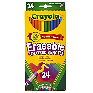 Best Epic Trends 51jSRBQMUNL._SS300_ Crayola Erasable Colored Pencils, Kids At Home Activities, 24 Count, Assorted., Long
