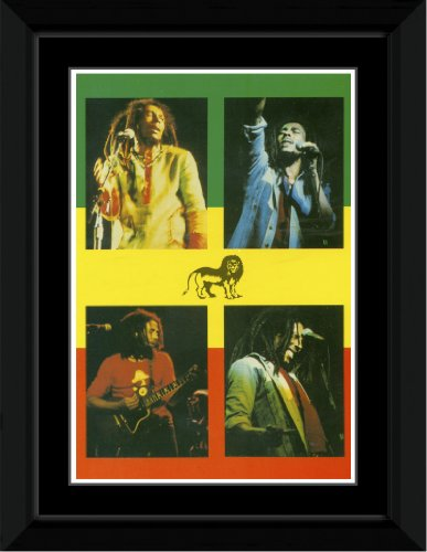 Bob Marley - 4 Pictures Framed and Mounted Print - 14.4x9.2cm
