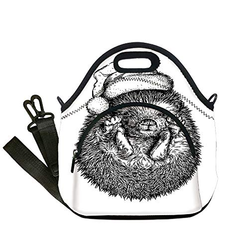 Insulated Lunch Bag,Neoprene Lunch Tote Bags,Hedgehog,Monochrome Hedgehog with Winter Attire Funny Hat Cute Animal Fauna Image Print,Black White,for Adults and children ()
