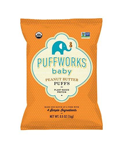 Puffworks Baby Organic Peanut Butter Puffs, Pack of 12 | Non-GMO | Gluten-Free | Kosher | Vegan | Dairy-Free