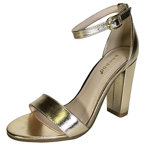 BAMBOO Women's Single Band Chunky Heel Sandal with Ankle Strap, Gold PU, 7.5 B US - Gold Ankle Strap