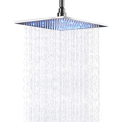 Senlesen Bathroom Rainfall Shower Head 12 Inch LED Colors Square Overhead Replacement Head Brushed Nickel