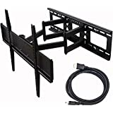VideoSecu Tilt Swivel TV Wall Mount 32- 70 LCD LED Plasma TV with VESA 200x200,400x400,up to 600x400 mm, Full Motion Articulating Dual Arm Mount Fits up to 24 Studs, Free HDMI Cable MW365B2H C20