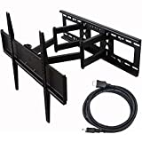 "Videosecu Tilt Swivel TV Wall Mount 32""- 70"" LCD LED Plasma TV with VESA 200x200, 400x400, Up to 600x400 mm, Full Motion Articulating Dual Arm Mount Fits Up to 24"" Studs, Free HDMI Cable MW365B2H C20"
