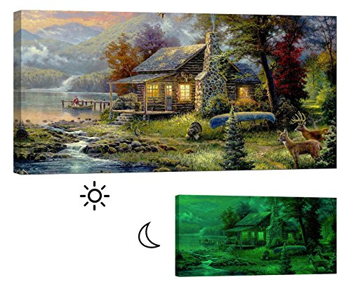 LightFairy Glow in the Dark Canvas Painting - Stretched and Framed Giclee Wall Art Print - Like Oil Painting Cabin By The Lake - Master Bedroom Living Room Decor - 6 Hours Glow - 46 x 24 Inch - Bedroom Cabin