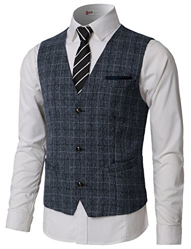 H2H Mens 2Pockets 3Buttons Wool Herringbone Tweed Tailored Collar Suit Vest Blue US M/Asia L (CMOV047) ()
