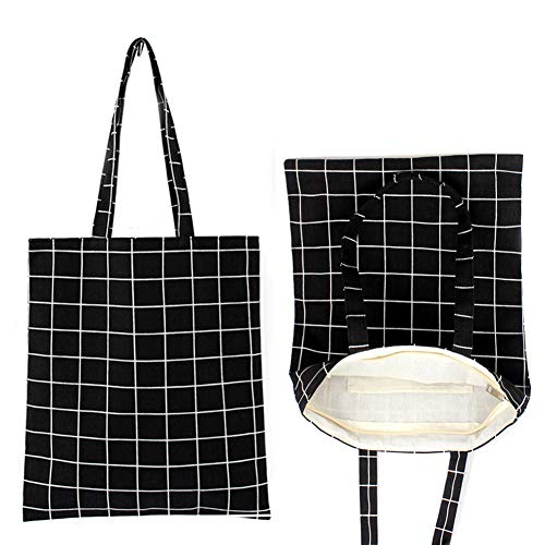 Hooshing Plaid Canvas Craft Tote Bags with Zipper and Inside Pocket (2 Pack) Environmental Protection, Black