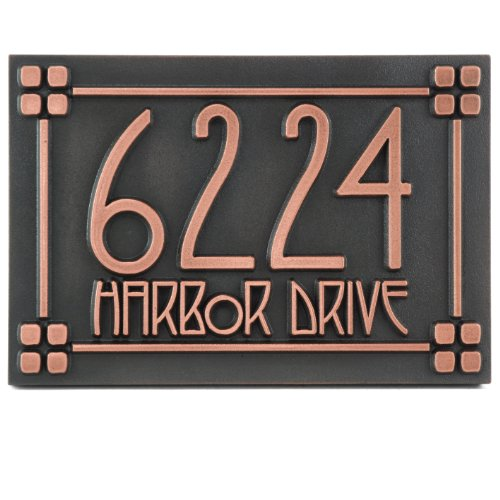 Craftsman Style Address Plaque w/Lines - 12x8 - Raised Copper Coated Sign