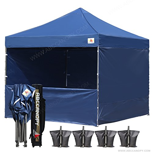 AbcCanopy Commercial 10x10 Instant Canopy Craft Display Tent Portable Booth Market Stall with Wheeled Carry Bag & Full Walls , Bonus 4x Weight Bag & 10ft Screen Wall & 10ft Half Wall (NAVY BLUE) by abccanopy
