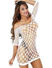 Freemale Women Sexy Lingerie Babydoll Stretch Fishnet Chemise Mesh Mini Dress