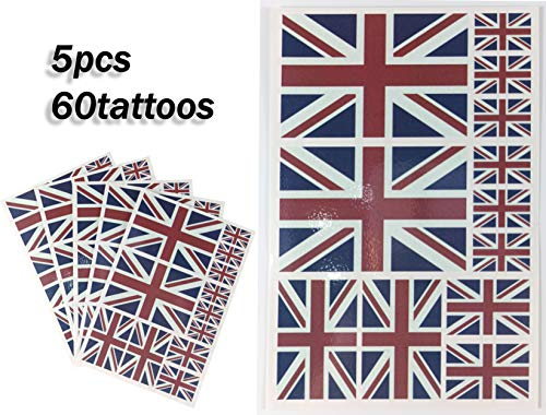 JBCD United Kingdom Temporary Tattoos 60 Pcs UK Britain Flag Stickers British Waterproof Tattoos National Union Jack Flags Face Tattoos, Suitable for Sports Event Parties and Pride Decorations (Union Jack Tattoos)