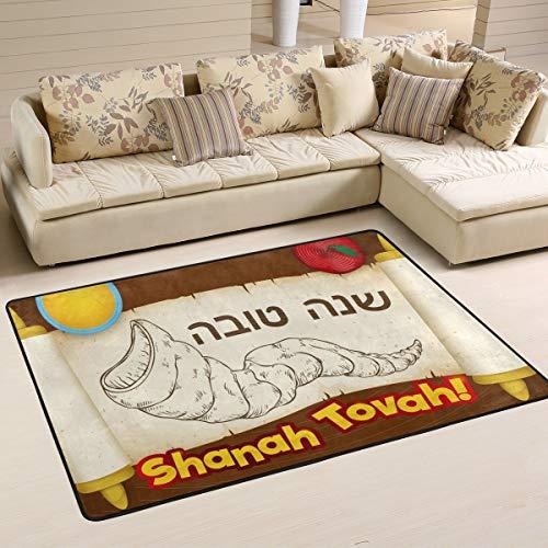 (Happy Rosh Hashanah Shofar 3' x 2' Door Mats Indoor Polyester Non Slip Multi Rectangle Carpet Kitchen Floor Runner Decoration for Home Bedroom Living Dining Room)