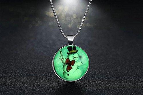 AnaZoz Bijoux de mode collier alliage Vert fluo Pendentif Collier Rond Lumineux série bonhomme de neige de Noël pendentif pour femme vert fluorescence
