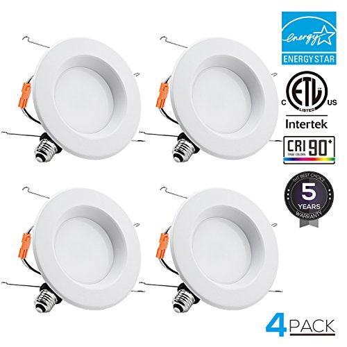 Energy Star Ceiling Light Fixture - TORCHSTAR 15W 6inch Wet Location CRI90+ Dimmable 90W Equivalent Retrofit LED Recessed Lighting Fixture, Energy Star & ETL Classified Ceiling Light, 5000K Daylight 1250lm Remodel Downlight, 4-PACK