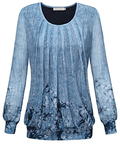 BAISHENGGT Women's Long Sleeve Pleated Front Mesh Blouse Small Blue Floral-2 (Jersey Long Sleeve Blouse)