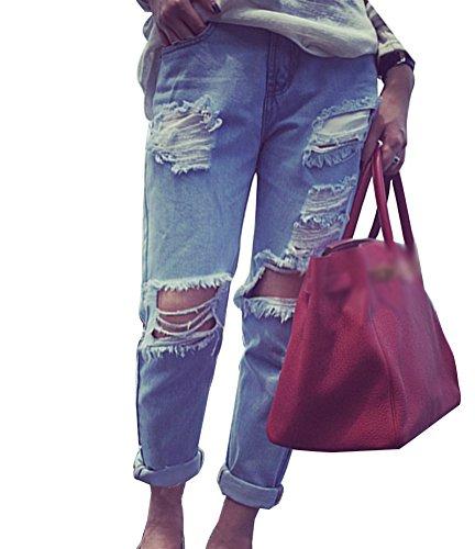 Femme Jeans Boyfriend Pantalons Trou Denim Taille Haute Push Up Comme Image