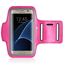GreatShield Stretchable Neoprene Sport Armband Case with Key Storage for Galaxy S8/S7, LG V30, Google Pixel 2 (Pink)