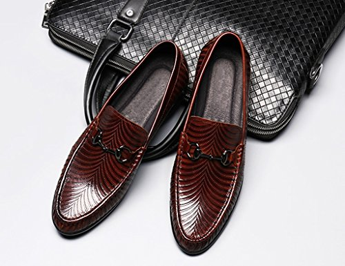 Zapatos Clásicos de Piel para Hombre Zapatos de cuero de los hombres de la primavera Zapatos casuales Zapatos de la marea del estilo británico de los negocios Zapatos perezosos ( Color : Negro , Tamañ Marrón