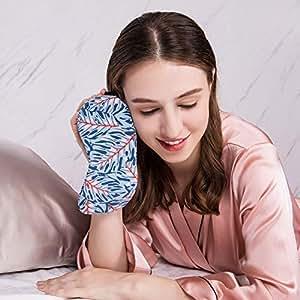 COLD POSH 100% Silk Sleep Mask Blindfold with Elastic Ajustable Strap/Headband,Soft Floral Eye Mask Cover for Night Sleeping,Travel,Work,Meditation,Luxury Gift,Leaves Print