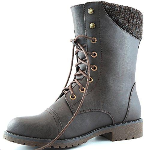 Dailyshoes Dames Militaire Gesp Hoge Laarzen Rits Sweater Enkel Hoge Exclusieve Creditcard Zak Bruine Pu