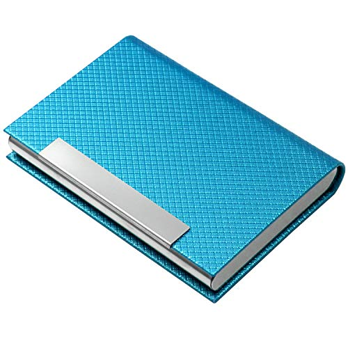 Business Card Holder, Business Card Case Luxury PU Leather & Stainless Steel Multi Card Case,Business Card Holder Wallet Credit Card ID Case/Holder for Men & Women. (T-Azure )