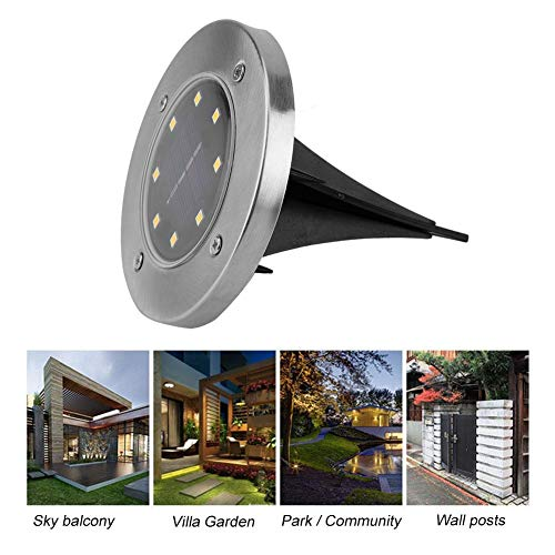 Solar Ground Lamp 12pcs 8 LED Solar Powered LED Buried Recessed Decoration Light for Garden Outdoor Path Decor Villa Lighting ()