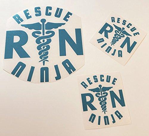 Rescue Ninja Teal Three Pack Vinyl Decal Sticker | Nurse Lif