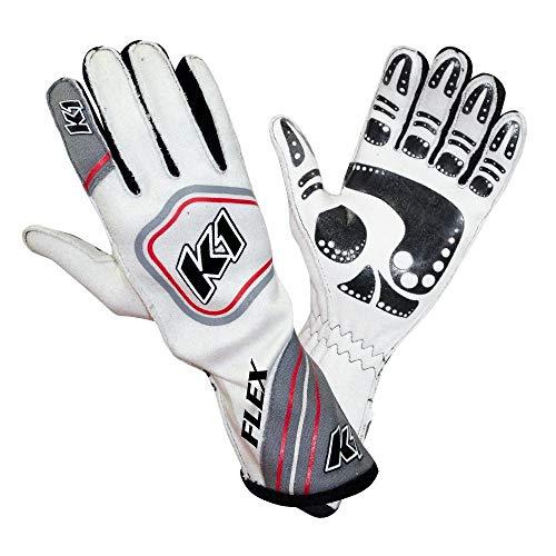 K1 RaceGear Flex Nomex Driver's Gloves - Grey, White - XL 23-FLX-GW-XL