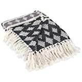 """DII Classic Colby Southwest Cotton Stripe Blanket Throw with Fringe, 50 x 60"""", Black & Gray"""