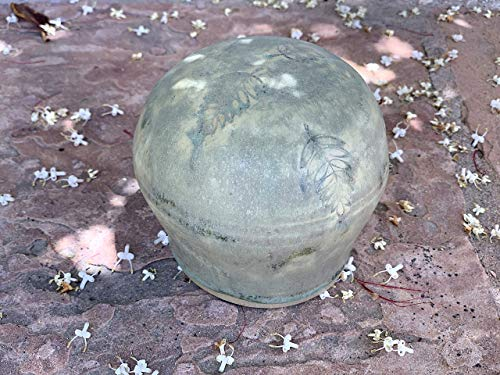 Green Sphere with leaf imprint, handmade garden pottery decor