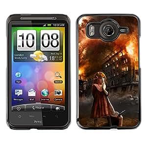 Caucho caso de Shell duro de la cubierta de accesorios de protección BY RAYDREAMMM - HTC G10 - Girl Arson Evil Halloween Monster