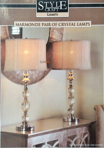 Stylecraft marmonde crystal table lamps 2 pack amazon lighting stylecraft marmonde crystal table lamps 2 pack mozeypictures Image collections