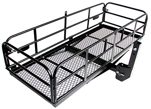 Merax Foldable Hitch Cargo Carrier Mounted Basket Luggage Rack with 2
