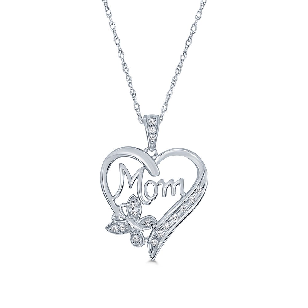 La Joya 925 Sterling Silver 1//10ct Round White Diamond Love Heart Mom Pendant Necklace for Mom Womens Teens